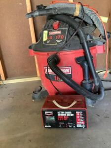 Craftsman 16 gallon, 6HP shop vac and accessories, drop cord and Century battery charger with automatic shut off engine start for 6/12 V