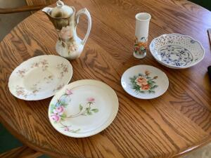 Vintage chocolate pot marked R S Prussia, collector plates and a bud vase