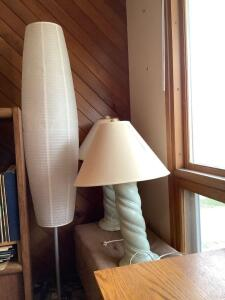 "66"" floor lamp w paper shade, two 32"" table lamps and and microsuede storage seat measures 36 x 17 x 17"
