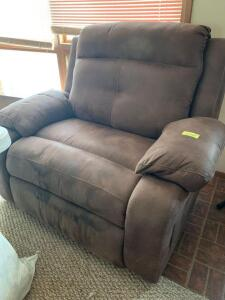 Oversized microsuede recliner Has normal wear marks, still very comfy! See photos