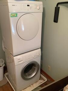 Bosch Axxis stackable washer and electric dryer As stacked unit measures 23 x 20 x 67