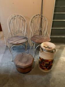 This is a lot for repurposing – two vintage iron ice cream chairs,  dairy can and wooden footstool on rollers