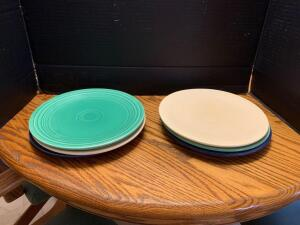 "Six 10"" plates-plates are not marked Fiesta on back-Harlequin?"