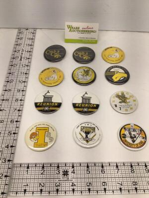 12 University of Iowa Homecoming badges – two identical 1982, two identical 1983, 1984, 1985, two identical 1986, 1987, 1989, 1990 and 1992