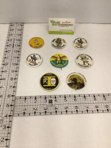 Seven University of Iowa Homecoming badges – 1969, 1970, two identical 1971, 1972, 1973, 1974 and 1975. The 1969 badge is missing the pin.