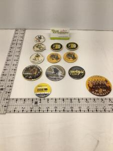 7 University of Iowa Homecoming badges – 1971, 1973, two identical 1974, 1980, two identical 1981, and 2006