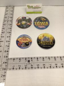 Four Iowa Hawkeyes Bowl badges – 2011 Insight Bowl, 2015 Tax Slayer Bowl, 2017 Outback Bowl and 2017 Pinstripe Bowl