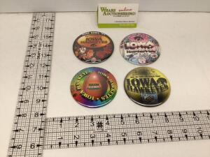 Four Iowa Hawkeyes Bowl badges – January 1991 Rose Bowl, December 1981 Holiday Bowl, 1995 Sun Bowl and 1996 Alamo Bowl