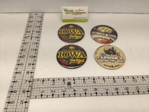 Four Iowa Hawkeye Bowl badges – two identical 1982 Rose Bowl badges, 1982 Peach Bowl and 1983 Gator Bowl