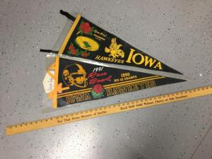 Two Rose Bowl pennants Iowa Hawkeyes – one unmarked year and 1991