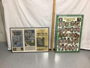 Framed newspaper clippings relating to Zach Johnson and Boston Celtics Championship Years framed poster Measure 36 x 24 and 24 x 37, respectively