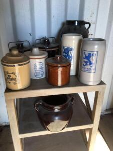 Lowenbrau Germany mugs, crock jars with snap on lids (couple with chips/cracks)