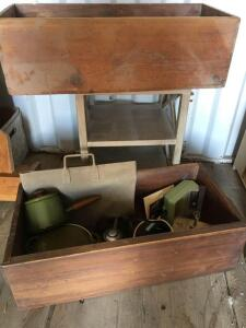 Two wood boxes 30 x 13 x 9 with miscellaneous contents