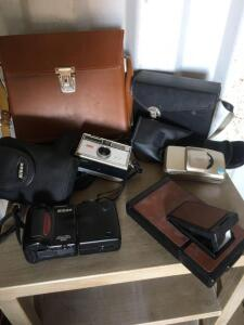 Cameras, Kodak Instamatic, Olympus Zoom 105, Nikon cool pix 950 and cases