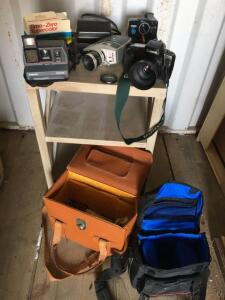 Cameras, Polaroid impulse, Bauer movie camera, Canon, Polaroid land and Cases