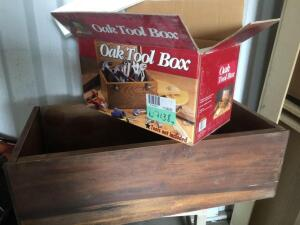 Oak toolbox-new, wood storage box