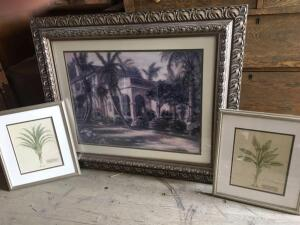 Three framed pictures