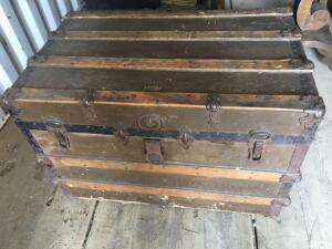 Vintage Trunk by Neverbreak with tray and contents