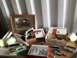 Westinghouse literature, Model train cars, miniature truck, fire truck and cigar boxes