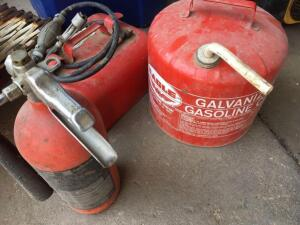 2 1/2 gallon boat tank, 5 gallon gas can and fire extinguisher