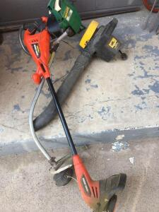Gas weedeater 1700, Eager Beaver electric blower, and Black & Decker cordless trimmer
