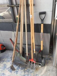 Lawn tools, shovel, rake, hoe, bucksaw, paint roller and pitchfork