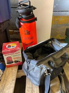 2 gal sprayer, tool bag, Warning light