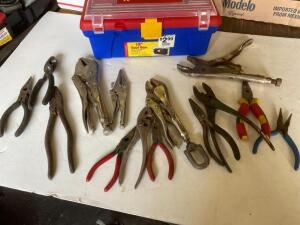 Vice grips, pliers, snipes, tool box