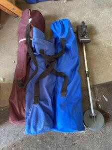 Three bag chairs, battery operated metal detector