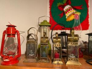 Various Lanterns, old and new, bell wall hanger