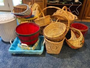 Lots of baskets, trash can