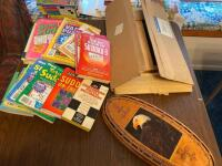 Sudoku books, puzzle books, cribbage board (no pins), Purdue Pegboard, paper supplies