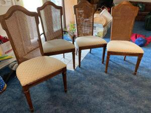 Four dining chairs, minimal soiled cushions