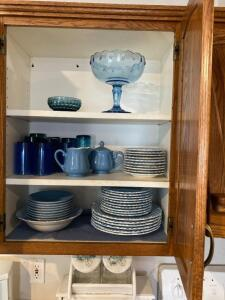 Linda Ironstone dishes, blue glassware fruit bowl, candy dish, sugar & creamer, stemware, bread box, canisters