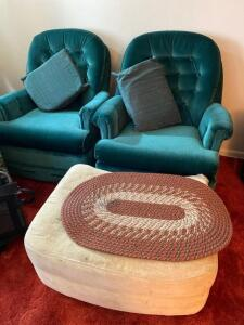 Two velvet chairs, ottoman-torn corner, rug