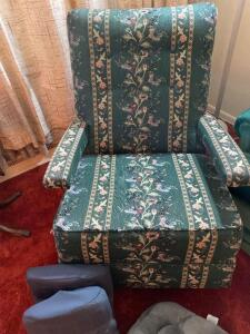 Cushions, afghans, floral rocking chair