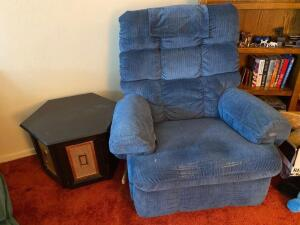 Blue La-Z-boy rocker recliner, shows some wear, end table