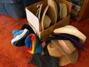 Various hats, straw, winter stocking caps