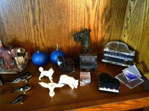 Small trinkets, pianos, figurines, owl, whales, candles