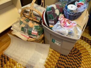 Tub and basket of craft items, yarn, latch hook yarn, patterns & more