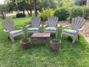 Adirondack chair patio set - includes 4 chairs + cushions, plicker table, two flower pots