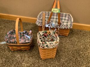 3 Longaberger baskets with liners