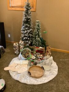 Fun lot of neutral Christmas decor - wood serving tray, tree skirt, flocked artificial trees, table linens, bird cage and ornaments