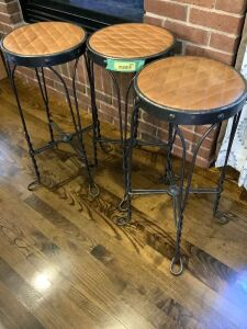 "3 leather and stitched seat covered stools - measure 26"" tall"