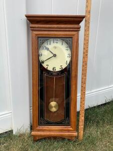 "Elgin mission style wall clock Verichron Model No. DS-4001. Measures 31"" tall."
