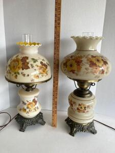 "2 Gone with the Wind style glass lamps. 21"" and 21.5"" tall. Both electric. Made by Accurate Casting, Inc."