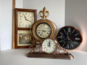 4 clocks -Time Images - Japan movement wood case quartz, Madison Clock Co. Fleur de Lis gold metal, Hotel Des Royales Paris metal, Westminster Clock C