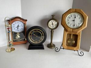 4 clocks and a Galileo thermometer - Sterling & Noble, Daniel Dakota Regulator (cracked case)