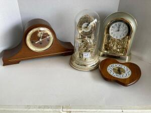 4 clocks - Thwaites & Reed London mantle clock, Rhythm Melody Japan wedding clock