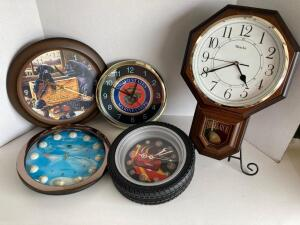 5 clocks - novelty quartz - golf, Winchester, U.S. Marine Corps, Cars 'Lightning McQueen,' Regulator Westclox.